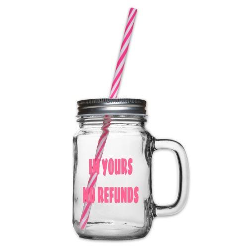Im yours pink - Glas med handtag och skruvlock