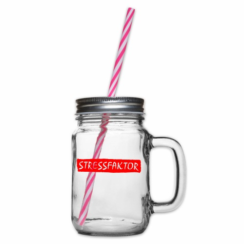 Stressfaktor - Coole Spruch Design Geschenk Ideen - Henkelglas mit Schraubdeckel