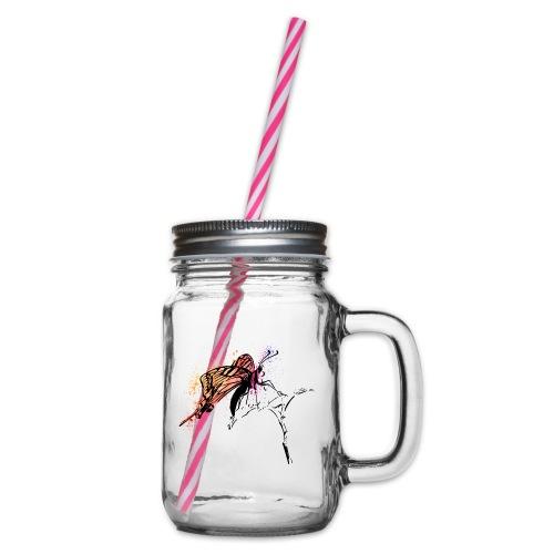 Schmetterling in Aquarelloptik - Henkelglas mit Schraubdeckel