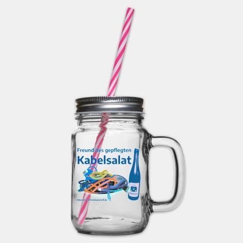 Freund des gepflegten Kabelsalat - Comic - Henkelglas mit Schraubdeckel