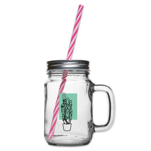 Kleiner Designer Kaktus - Henkelglas mit Schraubdeckel