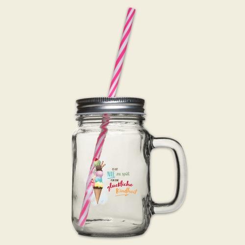 Eis - glückliche Kindheit - Henkelglas mit Schraubdeckel