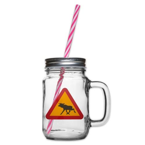Warnschild Elch - Henkelglas mit Schraubdeckel