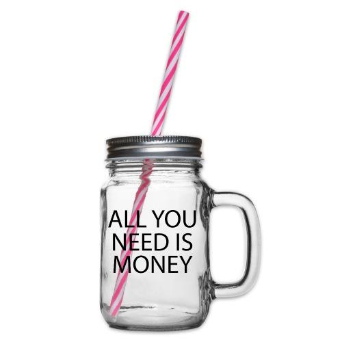 All you need is Money - Glass med hank og skrulokk
