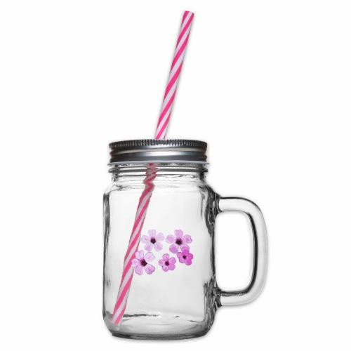 Blumen violett - Henkelglas mit Schraubdeckel