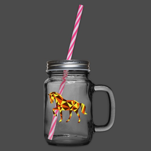Horse - Glass jar with handle and screw cap