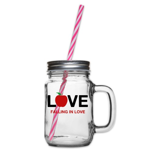 Falling in Love - Black - Glass jar with handle and screw cap