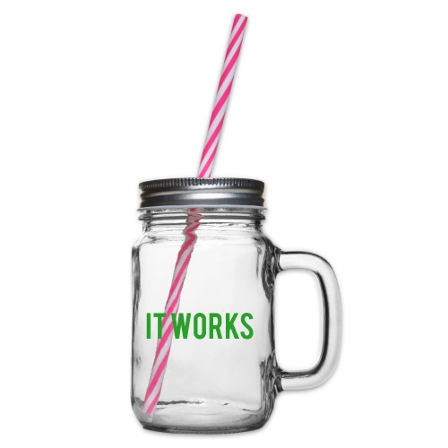 It works on my machine Funny Developer Design - Glass jar with handle and screw cap