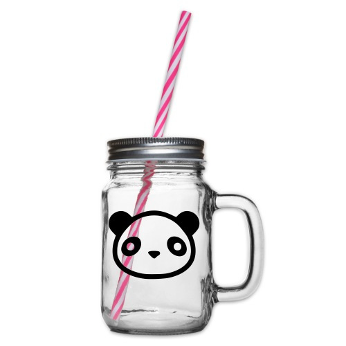 panda - Glass jar with handle and screw cap