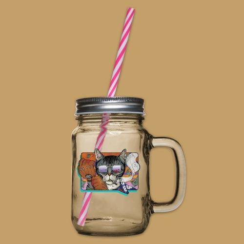 Crime Cat in Shades - Słoik do picia z pokrywką