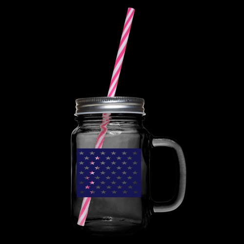 stars and stripes part1 - Glass jar with handle and screw cap