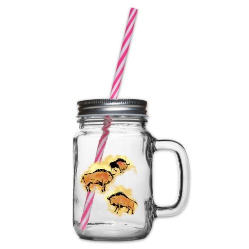 Wisente - Henkelglas mit Schraubdeckel