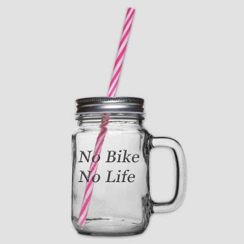 No Bike No Life - Glas med handtag och skruvlock