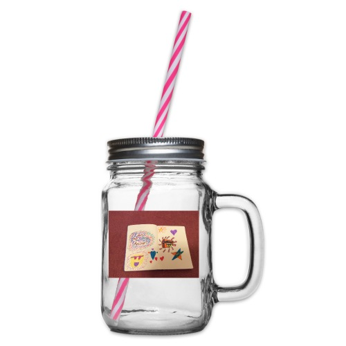 I am a Amster or Awesome Amy logo - Glass jar with handle and screw cap