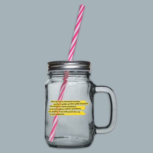 Nederlandse Grondwet T-Shirt - Artikel 1 - Drinkbeker met handvat en schroefdeksel