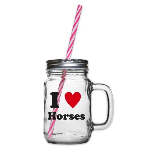Kocham konie - Słoik do picia z pokrywką