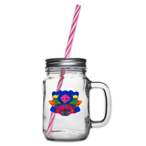 Tintenklecks mit Grusel-Alien in der Mitte - Henkelglas mit Schraubdeckel