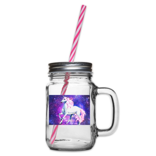Magical unicorn shirt - Glass jar with handle and screw cap