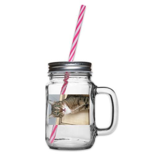 Kotek - Słoik do picia z pokrywką