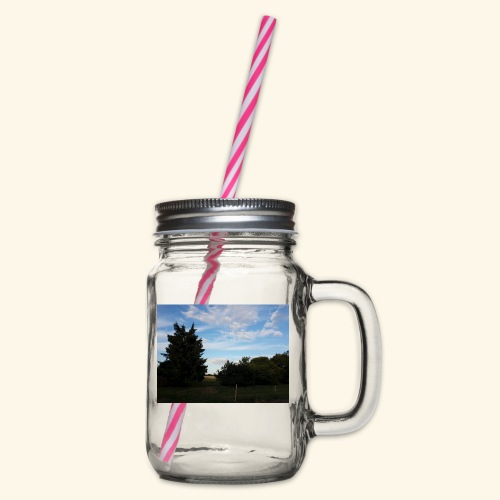 Feld mit schönem Sommerhimmel - Henkelglas mit Schraubdeckel
