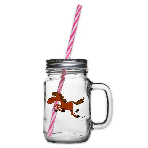 Springpferd - Henkelglas mit Schraubdeckel