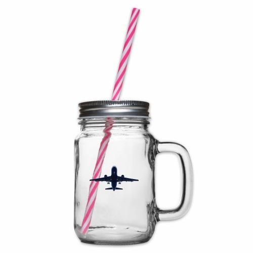 Flugzeug - Henkelglas mit Schraubdeckel