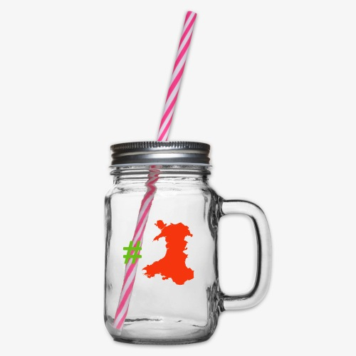 Hashtag Wales - Glass jar with handle and screw cap