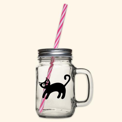 black_kitteh_3_einfabig - Henkelglas mit Schraubdeckel
