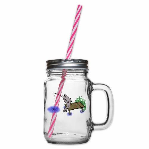 Fisch, Angler,Teich - Henkelglas mit Schraubdeckel