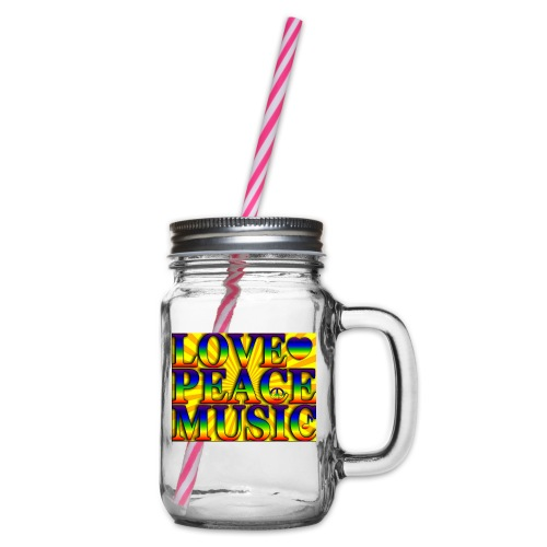 Love Peace and Music - Glass jar with handle and screw cap