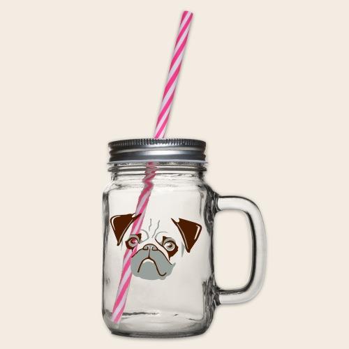 otiz mops kopf 2farbig - Henkelglas mit Schraubdeckel