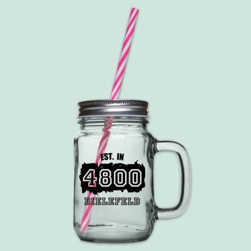Bielefeld - Alte PLZ 4800 - Henkelglas mit Schraubdeckel