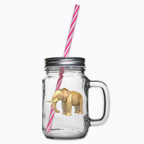elephant geometric - Glass jar with handle and screw cap