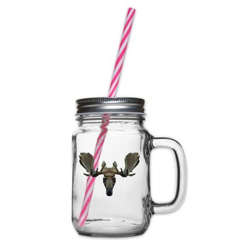 Low Poly Moosehead - Drinkbeker met handvat en schroefdeksel