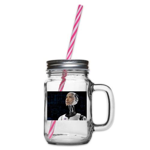 iRobama - Glass jar with handle and screw cap