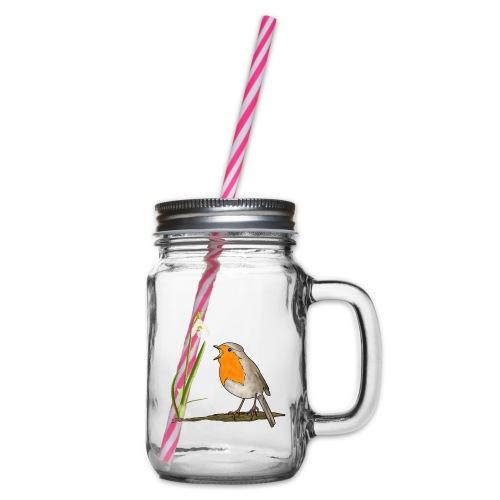 Frühling, Rotkehlchen, Schneeglöckchen - Henkelglas mit Schraubdeckel