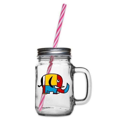 Mondrian Elephant - Glass jar with handle and screw cap