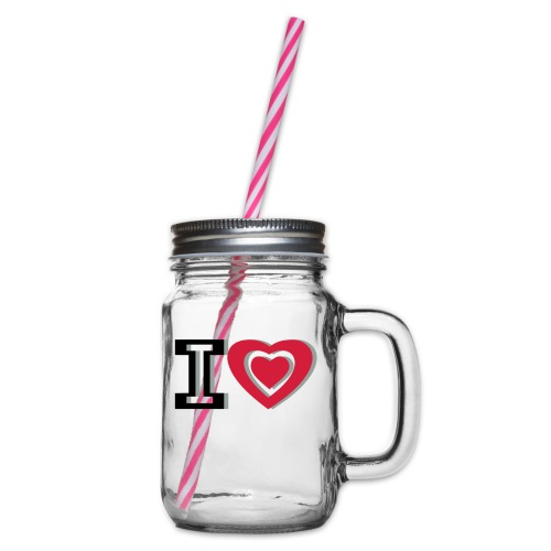 I LOVE I HEART - Glass jar with handle and screw cap