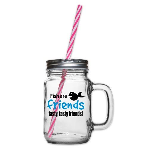 Fisk er venner - Glass med hank og skrulokk