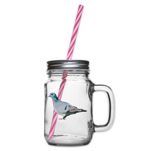 Hohltaube - Henkelglas mit Schraubdeckel