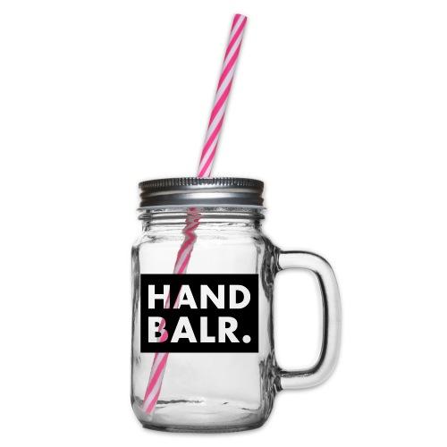 Handbalr Wit - Drinkbeker met handvat en schroefdeksel