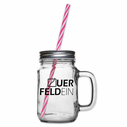 Querfeldein Logo - Henkelglas mit Schraubdeckel