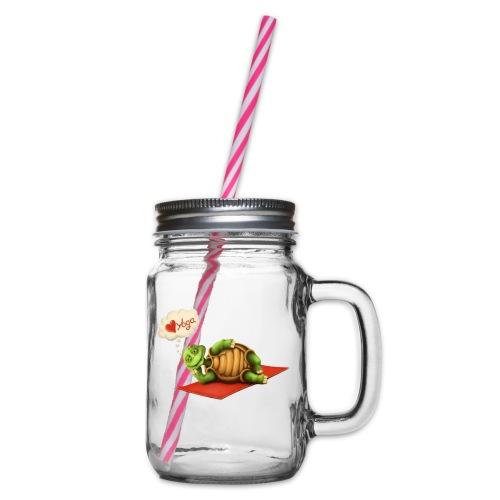 Love-Yoga Turtle - Henkelglas mit Schraubdeckel
