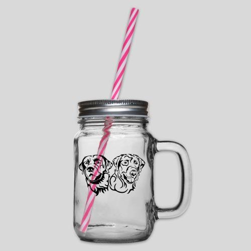 BarneySam schwarz Koepfe - Henkelglas mit Schraubdeckel
