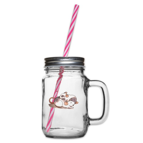 Mice cuddling - Glass jar with handle and screw cap