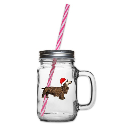 Christmas dachshund - Glass jar with handle and screw cap