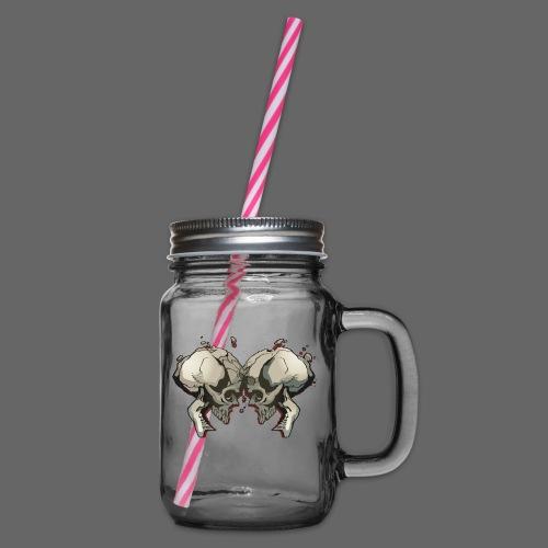 MHF_Logo_Loose-Skulls - Glass jar with handle and screw cap