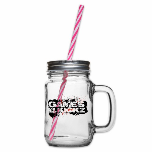 Games4Kickz Logo Splattered Background - Glass jar with handle and screw cap