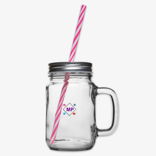 MP logo with social media icons - Glass jar with handle and screw cap
