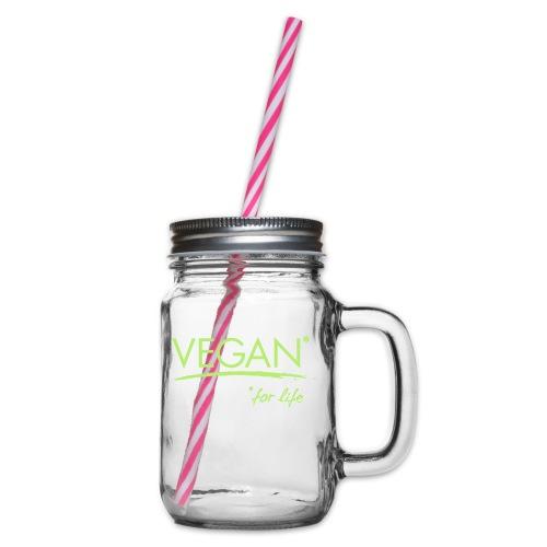 vegan for life 1c - Henkelglas mit Schraubdeckel